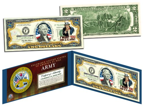 US ARMY WWII Vintage Collectible Art Two-Dollar Bill with Certificate