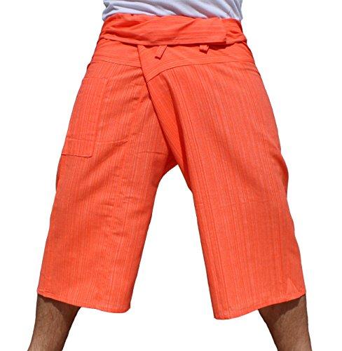 RaanPahMuang Thin Striped Cotton Plus Fisherman Capri Wrap Plus Pants, XX-Large, Bold Orange by RaanPahMuang