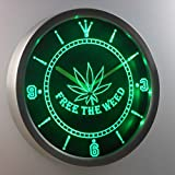weed pictures - nc0040-g Free the Weed Marijuana High Life Neon Sign LED Wall Clock