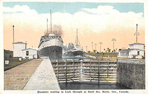 Sault Ste Marie Ontario Canada steamers in Lock waiting antique pc -