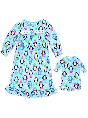 PJ & ME Girls Fleece Granny Gown Nightgown Pajamas with Doll Gown (4T, Blue) -