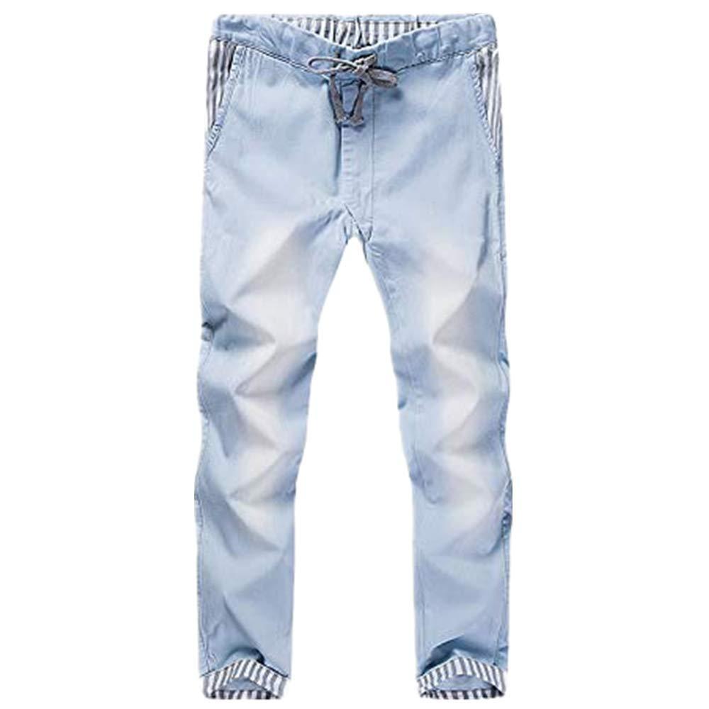 NUWFOR Men's Fashion Casual Vintage Elastic Wash Disstressed Denim Slim Trousers Jeans(Blue,US:40/AS:40 Waist:40.2'')