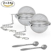 Cloudyfocus Mesh Tea Ball Strainers & Tea Scoop - 2pcs, Stainless Steel Tea Filters Loose Leaf Tea Infuser Strainers Interval Diffuser for Tea - 2.1 Inch