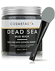 Cosmetasa Dead Sea Mud Mask Clay with Premium, Silicone Applicator Mask Brush 8.8 oz Acne, Blackhead Remover and Pore Cleansing Mask for Minimizing & Purifying :100% Natural, Paraben & Sulfate Free
