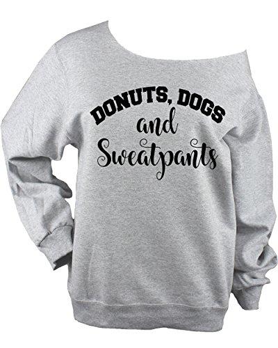 (Dogs Donuts & Sweatpants Off Shoulder Raw Edge Sweatshirt UNISEX Sweatshirt - Choose Glitter or Black Vinyl Logo (MEDIUM - Glitter Logo))