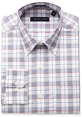 Tommy Hilfiger Men's Non Iron Regular Fit Large Plaid Bd Collar Dress Shirt