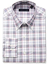 Men's Non Iron Regular Fit Large Plaid Bd Collar Dress Shirt
