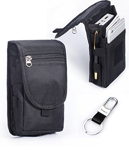 Carry Pouch - Multipurpose Large Capacity Vertical Nylon Smartphone Holster Belt Loop iPhone 6plus Holster Belt Clip Waist Bag Money Pocket Tactical Carry Pouch for LG G3/G4 Galaxy NOTE 5 S6 Edge+Hwin Keyring-Black