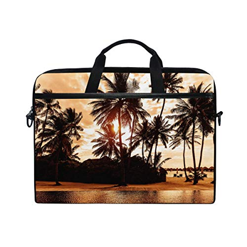 MAHU Laptop Sleeve Case Bag Palm Tree Beach Sunset Messenger Bag Travel Briefcase with Shoulder Strap for 14-14.5 inch Lenovo Dell HP MacBook