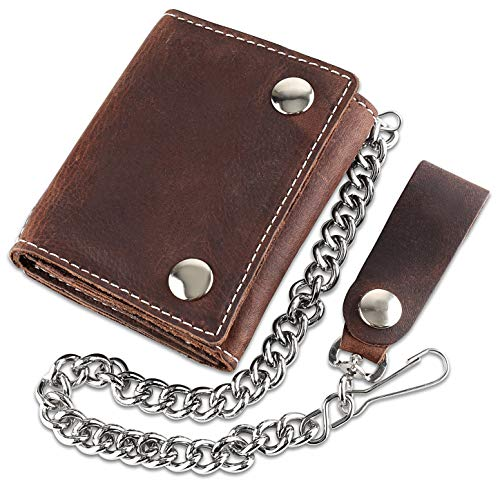 RFID Blocking Men's Tri-fold Vintage Biker Cowhide Top Grain Leather Steel Chain Wallet,Snap closure, Made In USA,Antique crazy horse brown,dc315