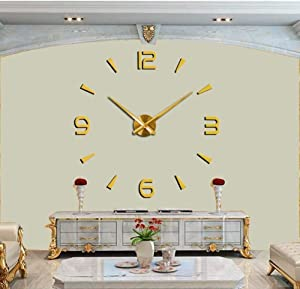 JUCK 3D DIY Wall Clock Creative Design Mirror Surface Wall Decorative Sticker Watches for Living Room Bedroom (Color : Gold)