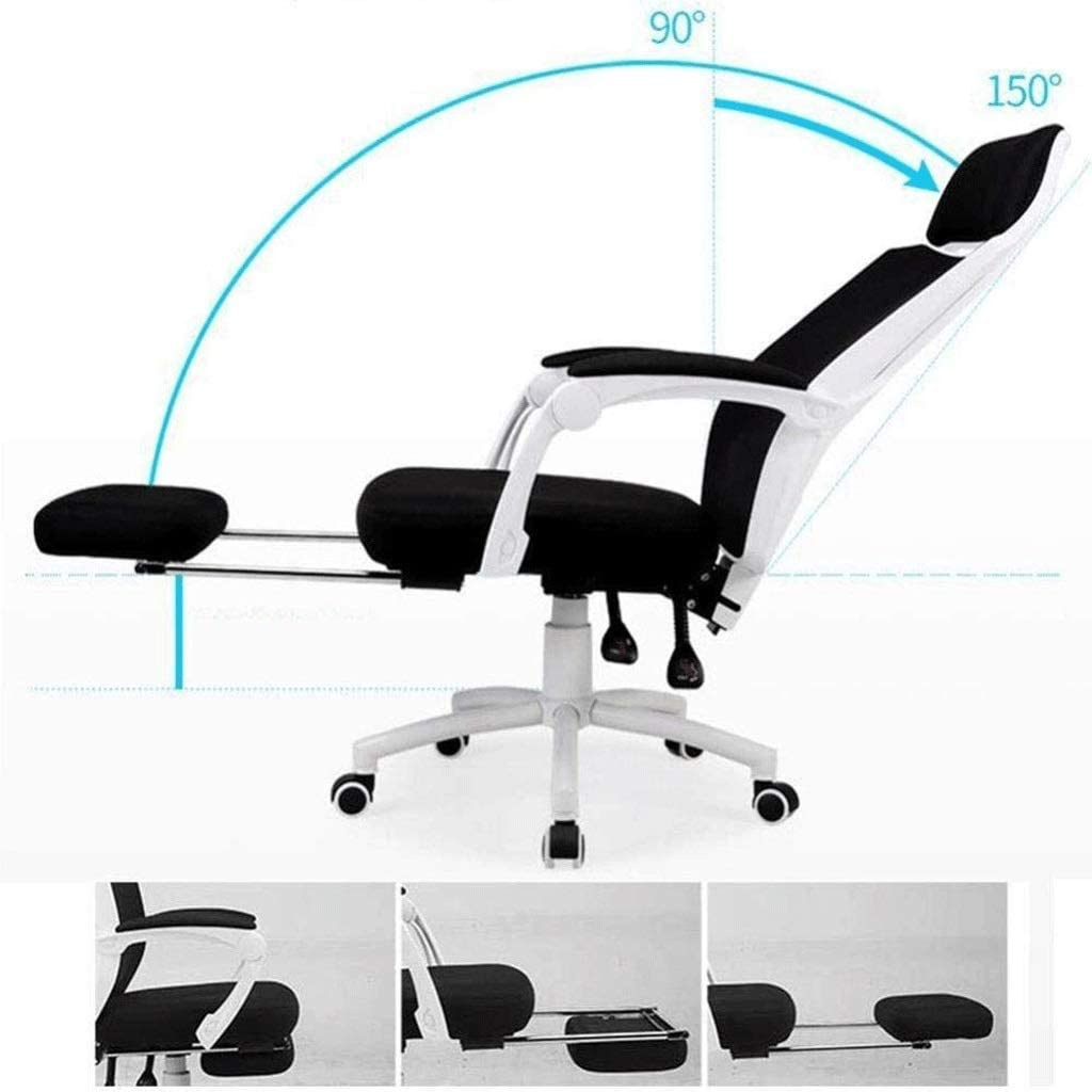 SJYDQ Bureau Chair- Ergonomique Chaise de Bureau à Haut Dossier Mesh Chaise de Bureau réglable Têtière Chaise de Bureau d\'ordinateur for Le Soutien Lombaire (Color : Black) White