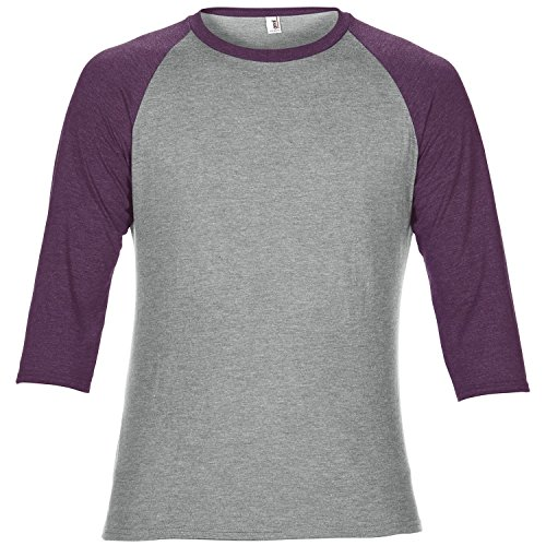 Tone T-shirt Raglan (Anvil Unisex Two Tone Tri-Blend 3/4 Sleeve Raglan T-Shirt (XL) (Heather Gray/Heather Aubergine))
