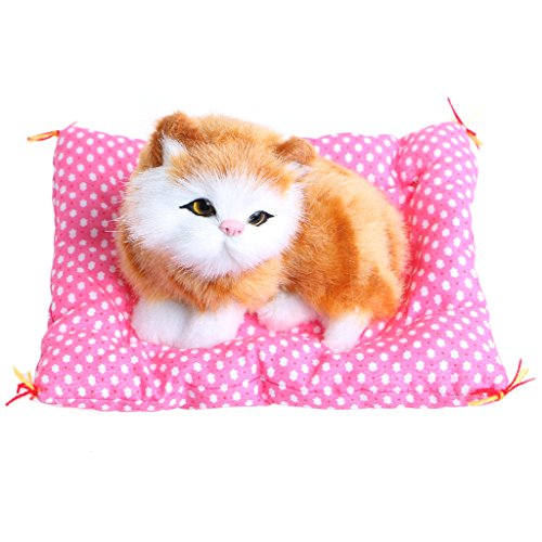 ONcemoRE Press Simulation Sound Animal Doll, Plush Stuffed Toy Cute Sleeping Cat for Kids Children - Yellow ()