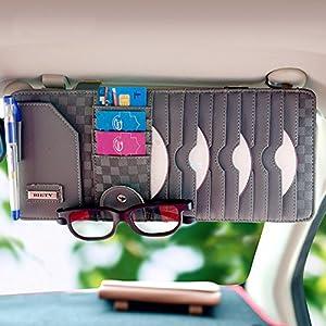 BIETY Car Sun Visor CD / DVD Discs Organizer -Car Documents Visor Acessorise- Card Storage Holder Pouch bag Glasses Holder Grey