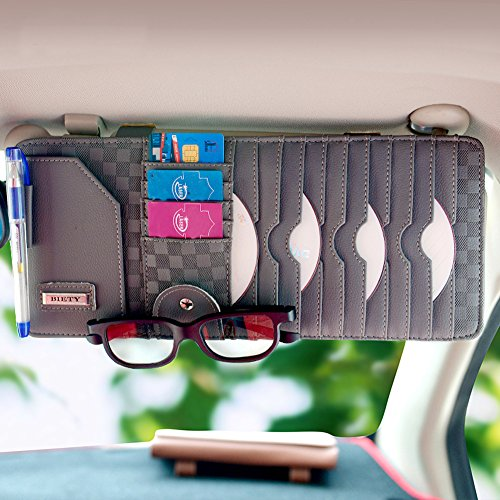 BIETY Car Sun Visor CD / DVD Discs Organizer -Car Documents Visor Acessorise- Card Storage Holder Pouch bag Glasses Holder (Wool Dolly)