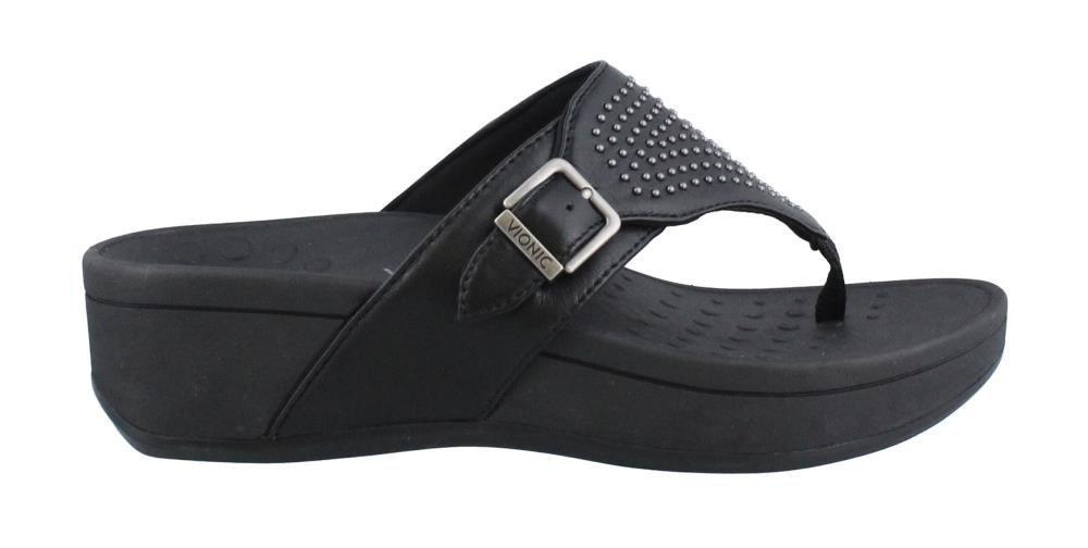 Vionic Women's, Pacific Capitola Thong Style Sandals Black 8 M