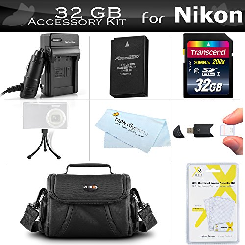 32GB Accessories Kit For Nikon Coolpix P1000, Nikon DL24-500, Nikon 1 AW1 Mirrorless Digital Camera Includes 32GB High Speed SD Memory Card + Extended Replacement EN-EL20A Battery + Charger + Case ++
