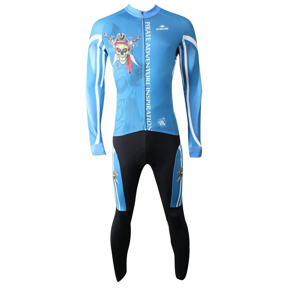 TXJ Herren/Männer Modische Winter Fahrrad bekleidung Anzüge Langarm mit Reißverschluss Jersey Plus-Silicon Padded Hose (Pirate Bild) (M(170cm))