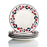 dinner ware for 8 - Cherries Series Living Ware 8 inch Dinner Plates Oven Safe, Lead-free Stoneware Set of 4 by Sweejar