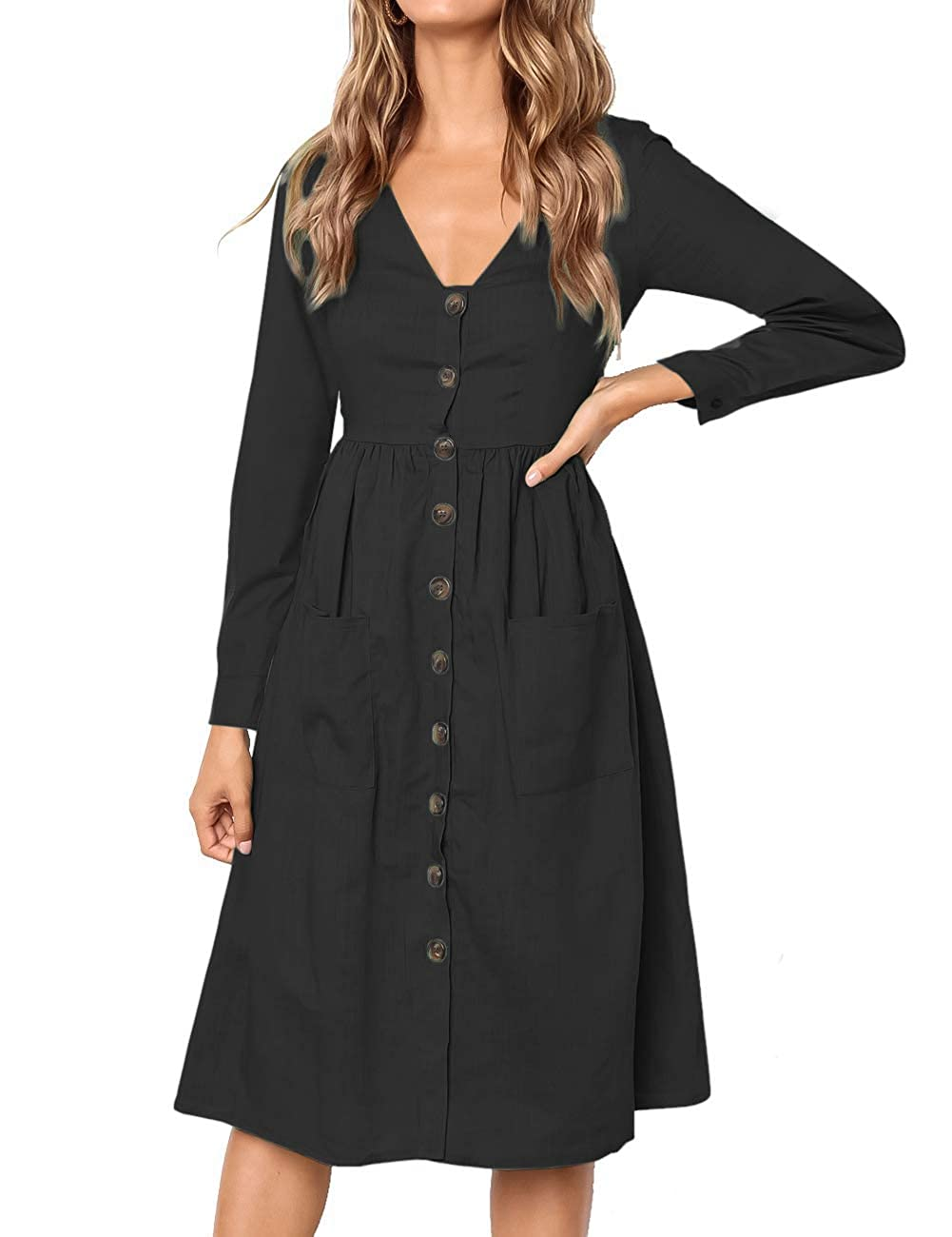 8fef99f8 MEROKEETY Women's Summer Short Sleeve V Neck Button Down Swing Midi Dress  with Pockets at Amazon Women's Clothing store: