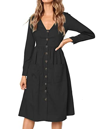 10559e64095e MEROKEETY Women s Summer Short Sleeve V Neck Button Down Swing Midi Dress  with Pockets at Amazon Women s Clothing store