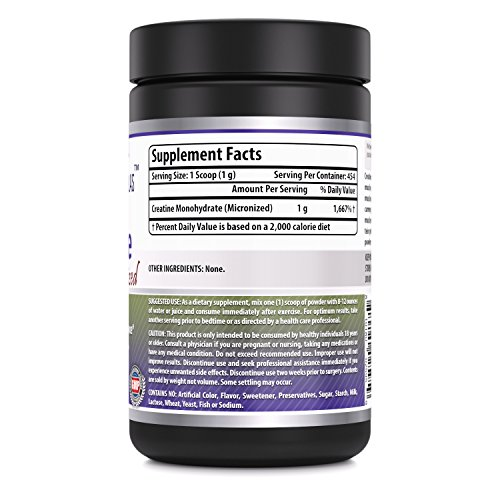 Amazing Nutrition Amazing Formulas Micronized Creatine Monohydrate - 1 lb (453.5 grams) - 5000 mg Micronized Creatine Per Serving - Approx. 454 servings- Ideal Pre & Post Workout Supplement