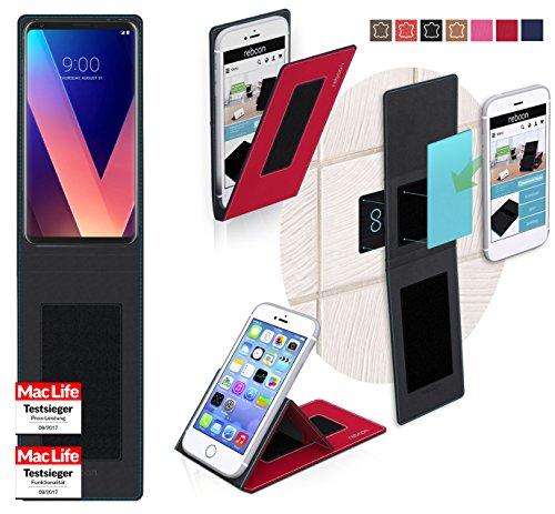 Funda para LG V30 Plus en Cuero Rojo - Innovadora Funda 4 en 1-Anti-Gravedad para Montaje en Pared, Soporte de Tableta en Vehículos, Soporte de Tableta - Protector Anti-Golpes para Coches y Paredes si Rojo