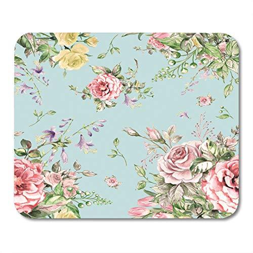 Emvency Mouse Pads Colorful Victorian Watercolor Luxury Bouquet Pink Flower Floral Pattern Mousepad 9.5