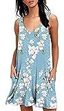 Women's Casual Summer Tshirt Beach Sundress Sleeveless with High Neck Bohemian Printed(Light Blue,XL)