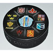2016 World Cup of Hockey SOUVENIR LOGO PUCK All 8 Teams CANADA USA RUSSIA SWEDEN