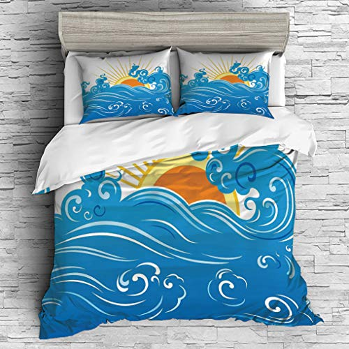 ver 2 Pillow Shams)/All Seasons/Home Comforter Bedding Sets Duvet Cover Sets for Adult Kids/Double/Abstract,Curved Ocean Waves with Sun Rising with Vibrant Sharp Rays Seascape Art, ()