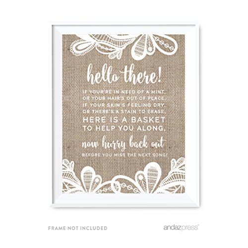 Andaz Press Burlap Lace Print Wedding Collection, Party Signs, Bathroom Basket Sign, 8.5x11-inch, 1-Pack