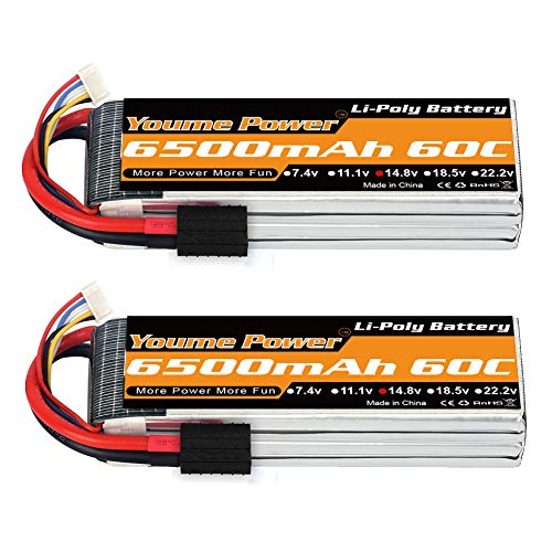 (Youme 4S Lipo Battery, 14.8V Lipo 4S 6500mAh 60C with TRX Plug for Traxxas Slash X-Maxx RC Buggy Truggy Crawler Monster Car ,Helicopter,Airplane (2Packs) )
