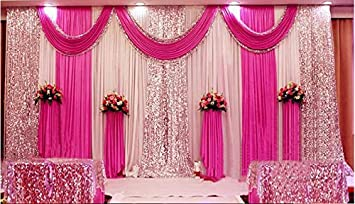 Lb 10x10ft Wedding Stage Backdrop Curtains With Swags Hot Pink Drape Party Wedding Backdrop Photography Background For Wedding Birthday Party Event