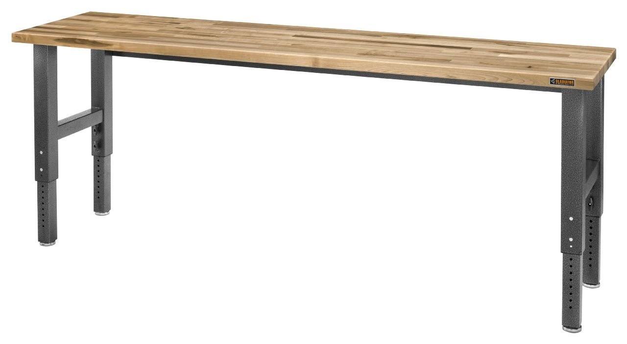 Gladiator GAWB06MTZG 6 Adjustable Height Maple Workbench with Hammered Granite Finish