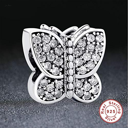 Pukido Sparkling Crystal /&Clear CZ Butterfly Charms 925 Sterling Silver Beads Fit Charm Bracelets /& Necklace DIY Jewelry
