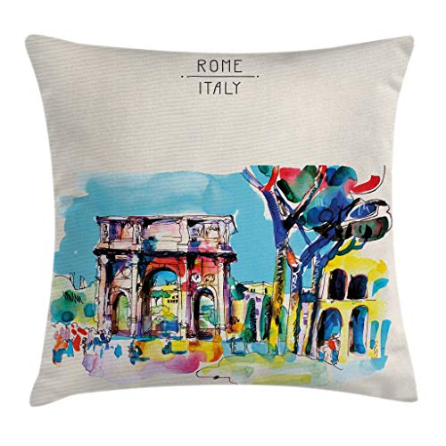 Ambesonne Watercolor Throw Pillow Cushion Cover, Historical Rome Architecture Italy Scene from Tourist Monument European Artwork, Decorative Square Accent Pillow Case, 16 X 16 inches, ()