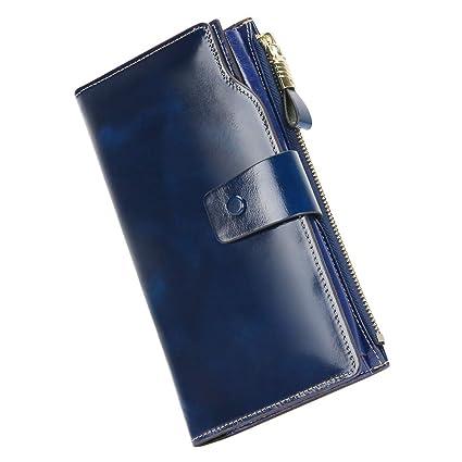 Carteras Mujer Monederos de Mujer Fashion Gran Capacidad RFID Bloqueador Billeteras Mujer para Tarjetas con Cremallera de Bolsillo Carteras de Fiesta ...