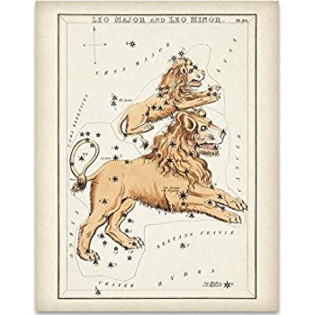 Leo Antique Zodiac Constellation Art Print - 11x14 Unframed Art Print - Great Gift Under $15 for Astrology Enthusiasts