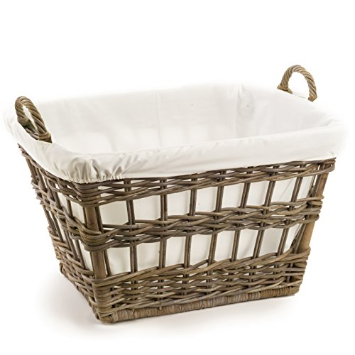 The Basket Lady Kubu Wicker French Laundry Basket, 23 in L x 18.5 in W x 18.5 in H, Serene Grey (Basket Grey Laundry Rattan)