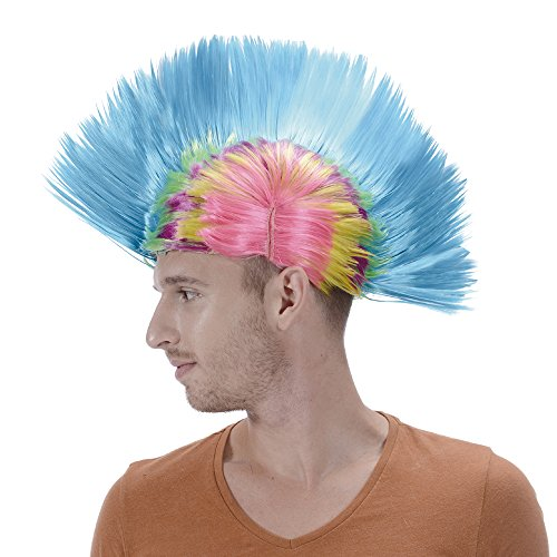 Rainbow Short Punk Mohawk Wig-Synthetic Funny Blue 80s Rocker Costume Halloween Christmas Party Hair Wigs for Men Women -