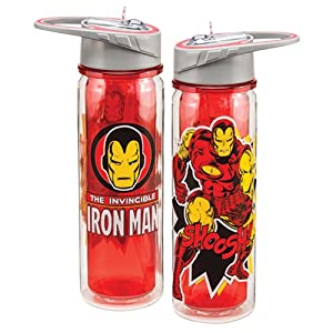 Vandor 26610 Marvel The Invincible Iron Man 18 oz Tritan Water Bottle, Red, Black, and Yellow