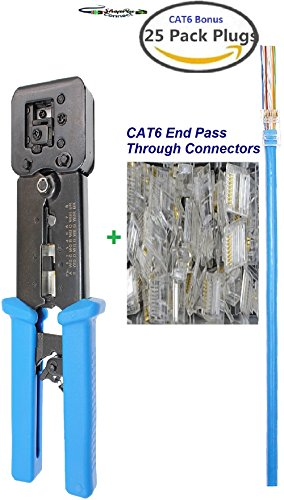Through Terminal (Bonus 25pcs CAT6 Connectors Combo Pack of RJ45 Professional Heavy Duty Crimp Tool Crimpers for RJ11 RJ12 and RJ 45 Connector EZ HD Crimping Tools Wire Cutter, Cables Stripper and Cable Stripping Blade)