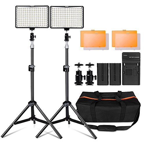 LED Video Light Kit with 30 inch Light Stand, FOSITAN 11W 960LM 3200K/5500K 160 pcs LED Camera / Camcorder Video Light Panel with battery for Canon Nikon Pentax Panasonic Sony and Olympus etc (2 Set) (Led Lights Camera)