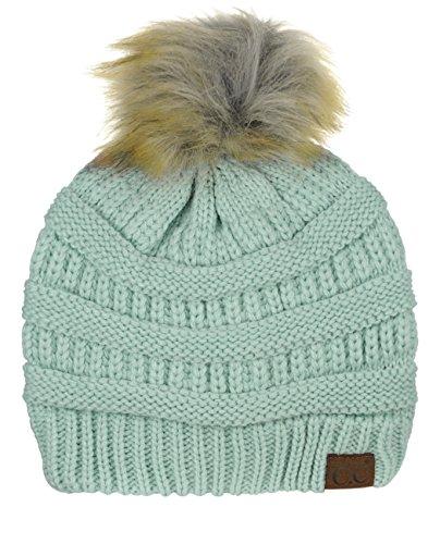NYFASHION101 Exclusive Soft Stretch Cable Knit Faux Fur Pom Pom Beanie Hat - Mint - Exclusive Cap Hat