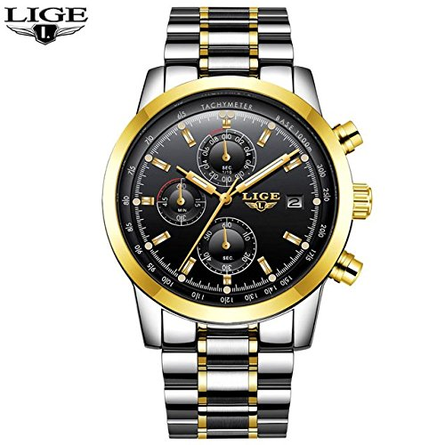 LIGE Mens Watches Top Brand Luxury Full Steel Fashion Casual Quartz Watch Mens Waterproof Gold Sports