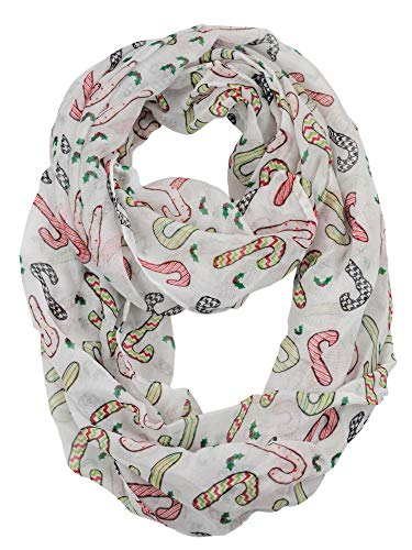 D&Y Christmas Theme Sheer Loop Infinity Scarf, Patterned Candy -