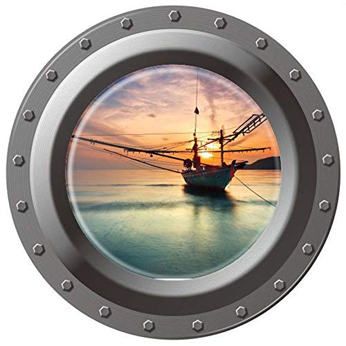 Homefind 3D High Definition Faux Submarine Porthole View Ship Boat on the Sea Sunrise Scenery Removable Vinyl Murals Decals (17
