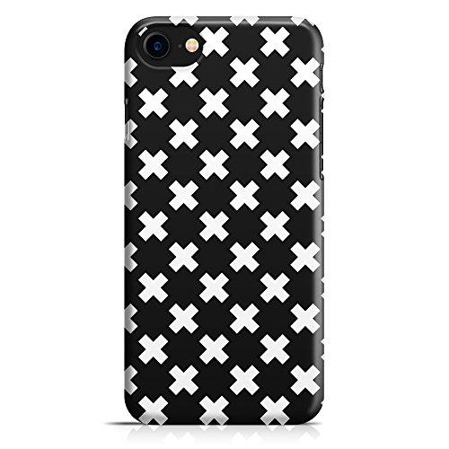 Cover Custodia Protettiva Case Cross Croci Black And White Bianco e Nero Moda Fashion Style Design Made In Italy per Iphone 7 - Iphone 7 Plus -Iphone 8 - Iphone 8 Plus - Iphone X